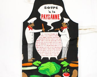 Vintage Recipe Apron - Chefs cook French Country Soup w Vegetables - Soup a la Paysanne - Black, Red, Green Novelty Mid Century Novelty