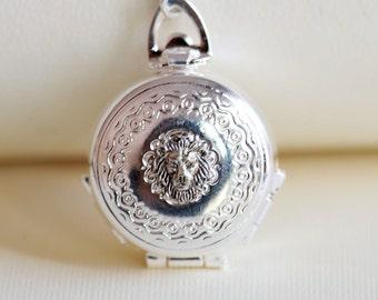 Lion Locket Necklace, four folder round locket,Silver Locket,Jewelry,Wedding Necklace,bridesmaid,under the moon