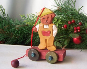 Vintage Bear Wood Christmas Ornament Bear On A Cart Holiday Decor Christmas Trees 1980s