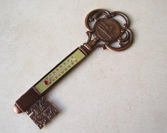Vintage Thermometer Washington DC Souvenir Key To The City Copper Tone Wall Thermometer Souvenir Vintage 1970s