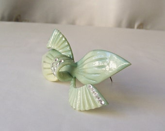 Vintage Celluloid Brooch Sea Foam Green Rhinestone Ribbon Bow Pin Art Deco 1920s Gift For Mom