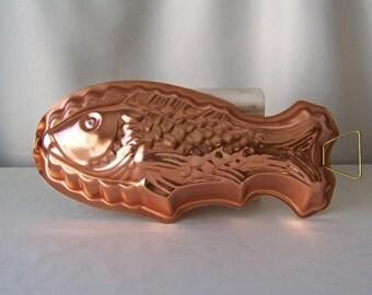 Vintage Copper Tone Fish Mould Kitchen Mold Salmon Mousseline Pate de Poisson Jello Mould 1980s