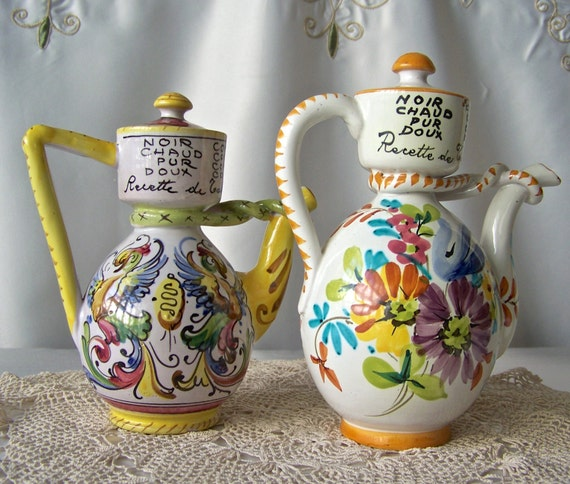Italian Kitchen Sets Manufacturer: Vintage Pottery Cruet Set Italian Kitchen Containers Hand
