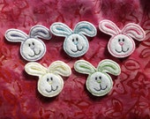BUNNY Felt Embellishment /Appliqués - Set OF 5 - Machine Embroidered - Ready To Ship -  Choose One Color Or Mix And Match