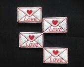 LOVE LETTERS Felt Embellishment / Applique - Set of 4 - Ready to Ship