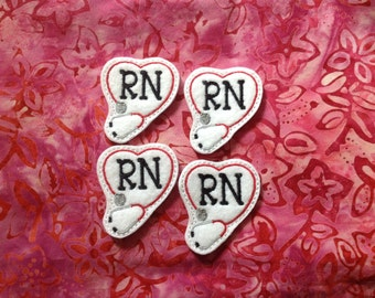 RN STETHOSCOPE Felt Embellishments / Appliqués - Set Of  4 - Ready To Ship - Available Cut Or Uncut