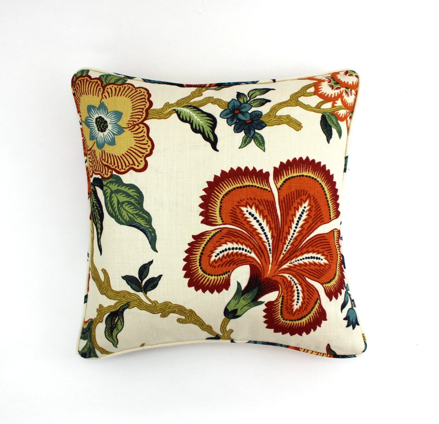 Schumacher Celerie Kemble Hothouse Flowers Pillows with self