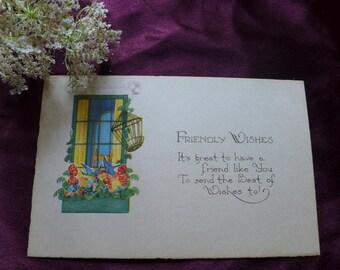 Vintage Antique Postcard / Single Card / Friendly Wishes