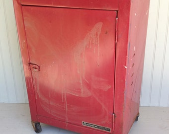 Rustic Metal Rolling Shop Cabinet on Casters