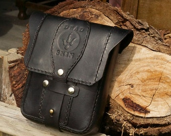 "Black Leather Belt Bag , iphone pouch, utility belt ""The Traveller"""