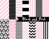 Black and Pink INSTANT DOWNLOAD Digital Paper Set
