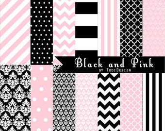 Black and Pink INSTANT DOWNLOAD Digital Paper Set