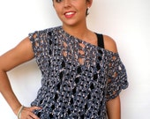 Asymetric Lace Tunic Hand Crocheted Sweater Variegated   Woman Tunic Vest NEW