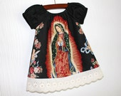 Our lady of Guadalupe Mexican Baby dress comes in black or cream