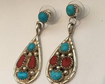 Turquoise STERLING SILVER 10.1 Gram Heavy Large Long Studio Piece Earrings