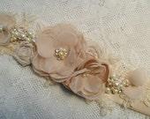 Wedding sash, Floral bridal sash, Champagne sash, Lace sash, Pearl & Rhinestone sash, Vintage sash, YOUR CHOICE COLOR, Bridal sash, Sash