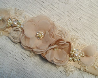 Wedding sash, Floral bridal sash, Champagne sash, Lace sash, Pearl & Rhinestone sash, Vintage sash, YOUR CHOICE COLOR, Bridal sash, Sash