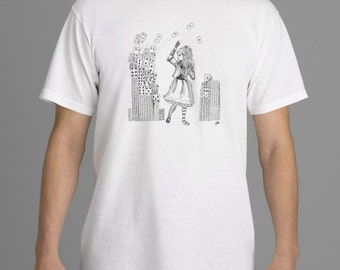 Alice in Wonderland T-shirt,  Alice & Cards Tshirt, Tim Burton Inspired, proceeds to Alzheimer's Association