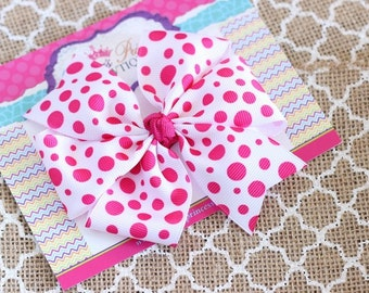 Baby Bows, Toddler Bows, Girls Hair Bows, Boutique Hair Bows, Hair Clips, Polka Dot Shocking Pink White Hair Bow Headband, 4 Inch Hair Bow