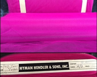 """Vintage fuchsia 100% polyester tulle bolt in 54"""" width contains 40 yards!! Great for sewing projects, DIY crafts, and decorative accents!"""