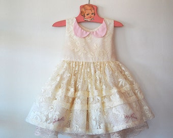 Pink and Cream Lace Tea Party Dress with Petticoat