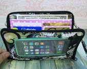 Cell Phone Wristlet Wallet • custom •  Zip Around Organizer Wallet  • Butterfly, LAST ONE • Black •  Keep in Touch MEGA Wallet  (2b)
