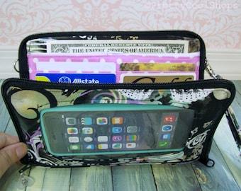 Cell Phone Wristlet Wallet • custom •  Zip Around Organizer Wallet  • Butterfly, LAST ONE • Black •  Keep in Touch MEGA Wallet  (2b)