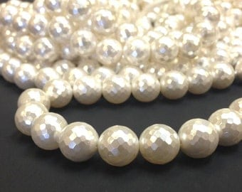 AA Grade 12 mm. White Mother of Pearl Faceted Round Beads - South Sea Shell - Full Strand 15.5 inches (G4611R32Q3-BH)
