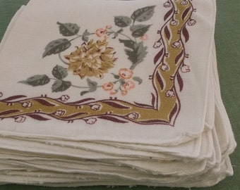 Vintage Napkins Soft Cotton Knit, 8 Napkins, Gold and Brown Border with Peach, Gold and Green Floral