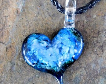 Green/Blue Glass Cremation Pendant, for Pets