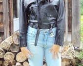 Black Leather BIKER jacket vintage 90s Cropped Moto