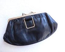 Retro 1920s Purse, Black Leather Purse, Black Wallet, Black Gold Bag,Downtown Abbey Purse, Roaring 20s Purse, Flapper Purse, Vintage Purse