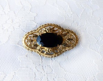Art Nouveau Gothic Brooch Victorian Black Gold Edwardian Evening Statement Flapper Great Gatsby Special Retro Woman Jewelry Accessory