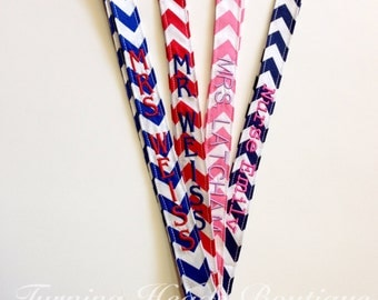 Chevron Lanyard ID Badge Holder / Personalized / Monogrammed / Teacher Appreciation Gift