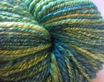 JUNGLE FLORA Superfine Merino and Silk Handspun Yarn in GREEN