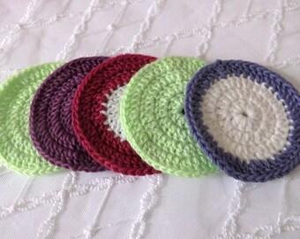 5 Pcs Cotton Crochet Round Facial Scrubbies...Crochet Pattern...Crochet Face Cloth