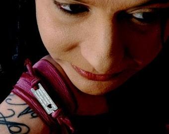 """BOHO Silk Wrap bracelet """"You are braver..."""" Heart or Star cutout HANDMADE custom engraved bracelet Graduation Gift  BFF, Gift for her"""