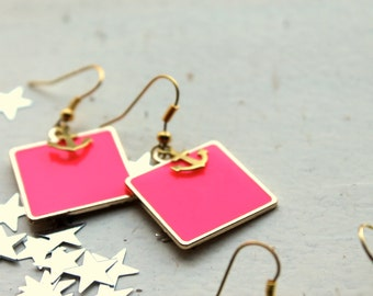 square nautical earrings- anchor earrings- gold anchor earrings- colored anchor jewelry- gold pink earrings- gold orange jewelry- green