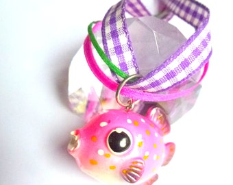 pink fish necklace