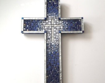 Blue and Silver Mosaic Cross