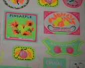 vintage neon print fabric pique white bright yellow green pink orange BTY waffle weave fruit label travel mod kitsch novelty print 36 by 45