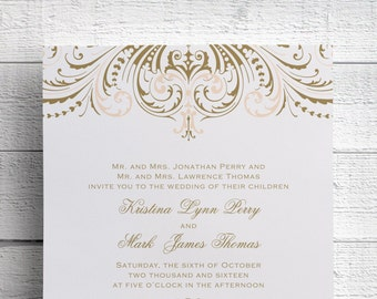 Printed Gold Wedding Invitation, Gold Vintage, Pink and Gold, Blush and Gold, Save the Date, Foil Stamped, Printed Gold, Invitation Suite