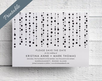 Modern Save the Date Printable Black & White Wedding