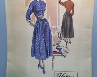 40s VOGUE Couturier - New Look Dress - RARE Unused ORIGINAL -  Pattern #423 - Woven Label - Bust 32