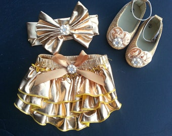 Gold metallic Baby Bloomer ruffles, shoes, headband, Birthday, party,  Infant, toddler 3 months-2 years