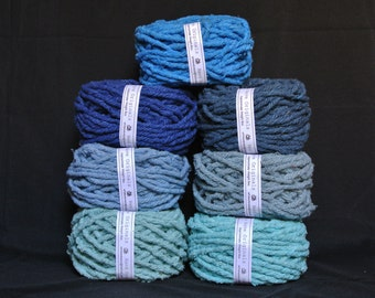 Hand dyed cotton Rug Yarn Colors: Blue, Colonial Blue, Denim, turquoise, Winter Blue or Dark Blue