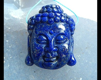 AAA Blue Lapis Lazuli Carved Buddha Head Pendant Bead,30x23x10mm,12.4g