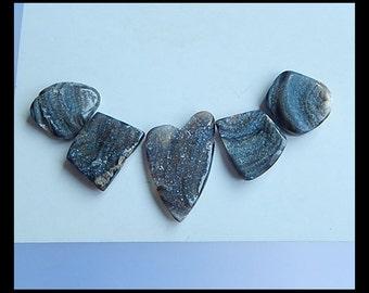 5 PCS,Drusy Brazil Agate Gemstone Cabochon,29x17x3/16x16x5mm,10g
