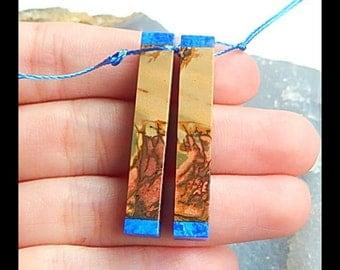 Multi-Color Picasso Jasper,Lapis Lazuli Intarsia Earring Bead,37x6x6mm,8.2g