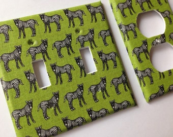 Zebra Light Switch Plate / Black and White Zebra Double Light Switchplate Cover / Animal Print Decor / Safari Nursery Decor/ Green Decor